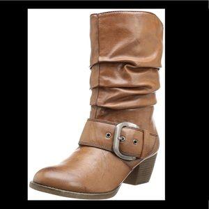 MIA Jaggerr Buckle Slouch Western Heeled Boot 8M